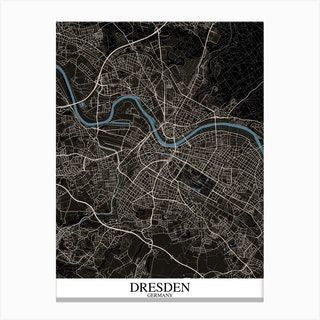 Dresden Black Blue Canvas Print