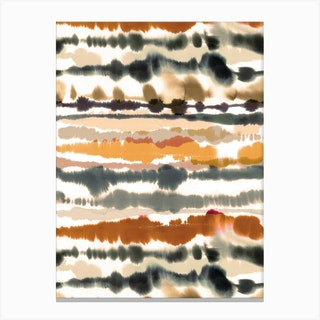 Soft Nautical Watercolor Lines Brown Canvas Print