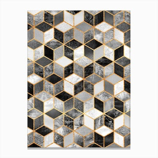 Black And White Cubes Canvas Print