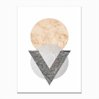 Peach and Grey Marble Circles Canvas Print