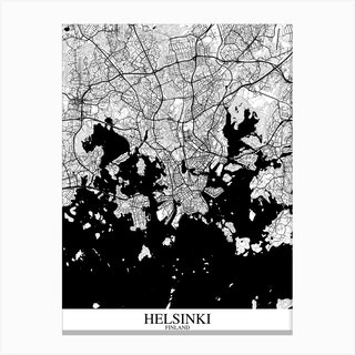 Helsinki White Black Canvas Print