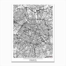 Paris Map Minimal Canvas Print
