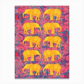 Golden Elephants Canvas Print