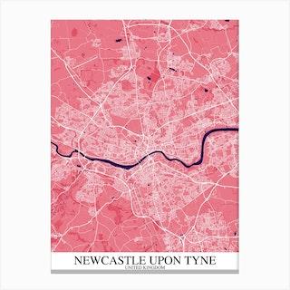 Newcastle Upon Tyne Pink Purple Map Canvas Print