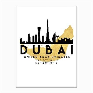 Dubai UAE Silhouette City Skyline Map Canvas Print