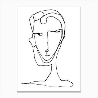 Delphinia Line Art Portrait Black And White Canvas Print