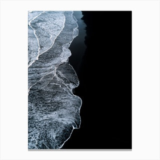 Black Sand Beach With Waves In Iceland Canvas Print