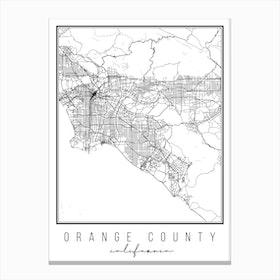 Orange County California Street Map Canvas Print