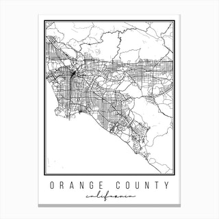 Orange County California Street Map Canvas Print