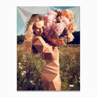 Young Girl With Bouquet Canvas Print