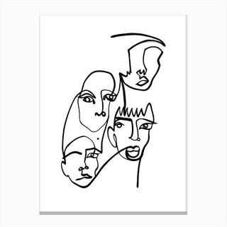Blind Drawing Four Faces Canvas Print