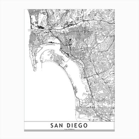 San Diego White Map Canvas Print