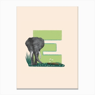 Letter E Elephant Canvas Print