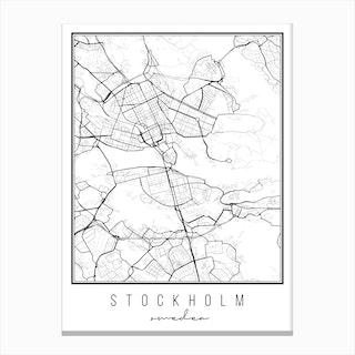 Stockholm Sweden Street Map Canvas Print