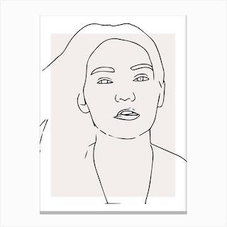 Woman Hair Outline Canvas Print
