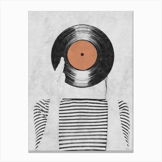 Vinyl Record Head Canvas Print