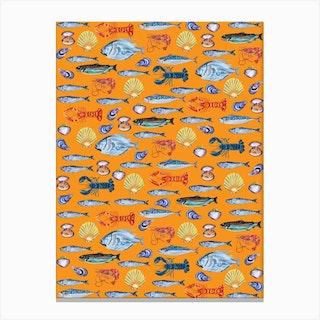 Fish Wallpaper Orange Canvas Print