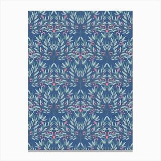 Art Nouveau Blue Floral Canvas Print