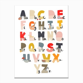 Illustrated Alphabet Chart  Navy & Red Canvas Print
