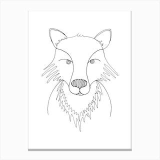 Line Fox Canvas Print
