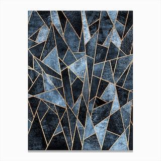 Shattered Soft Dark Blue Canvas Print