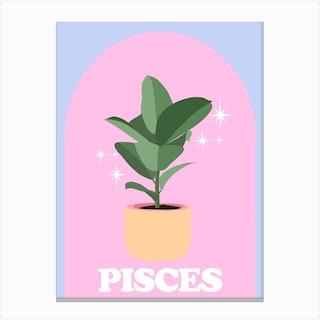 Botanical Star Sign Pisces Canvas Print