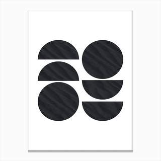 Six Black Half and Full Circles Abstract Canvas Print