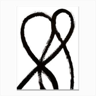 Love Black Abstract Canvas Print