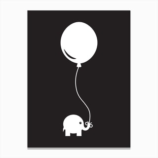 Elephant with Balloon (Black) Canvas Print