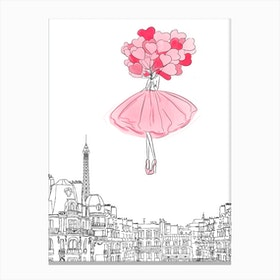 Above The Cloud Pink Canvas Print