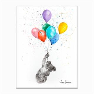 The Koala And The Balloons Canvas Print