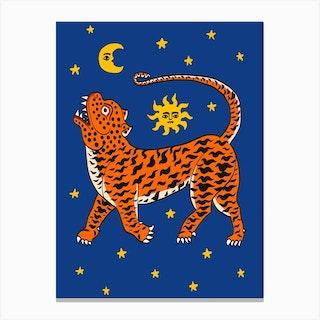 Tiger Temple Stars Blue Canvas Print