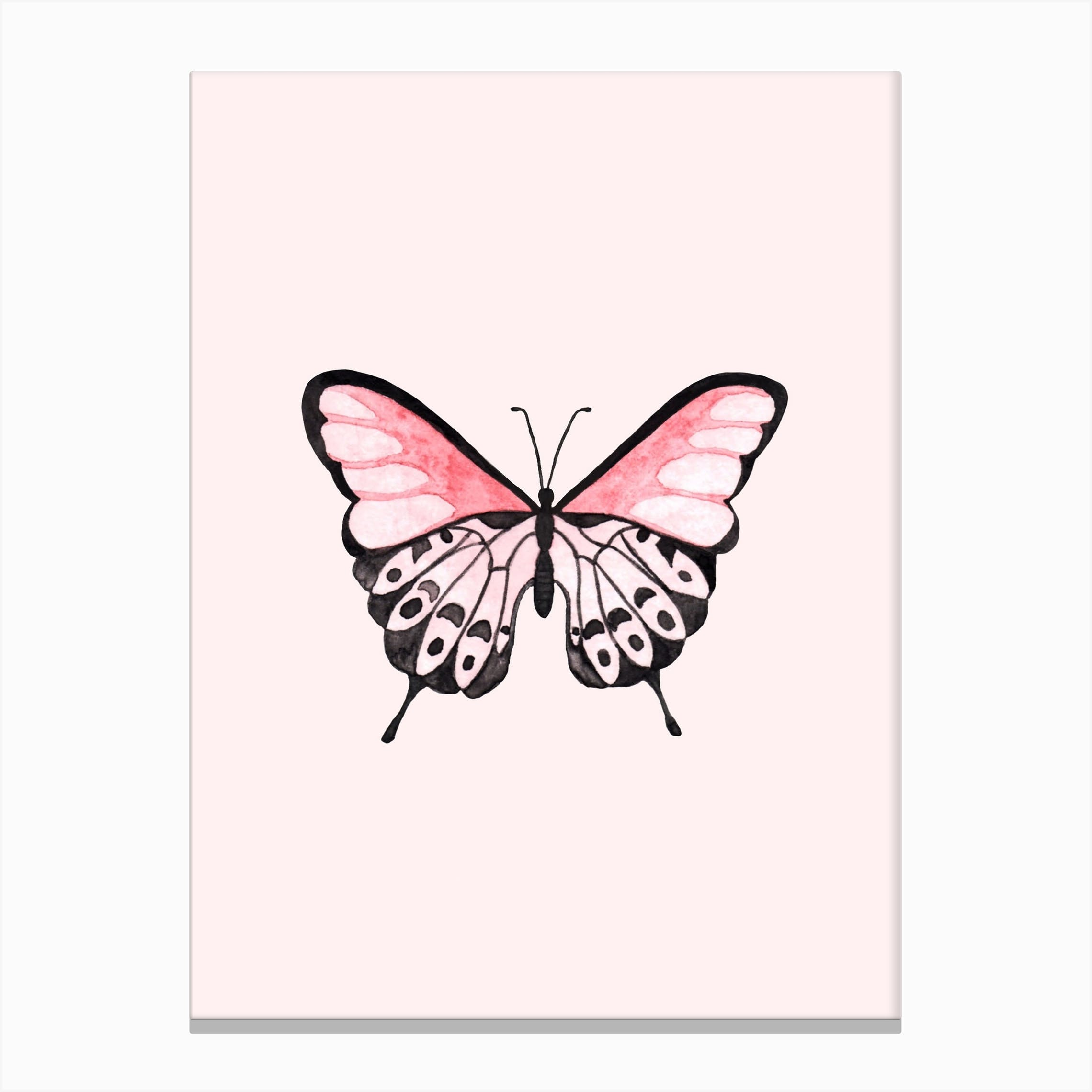 PINK RED HEART BUTTERFLIES ABSTRACT CANVAS PRINT PICTURE READY TO HANG