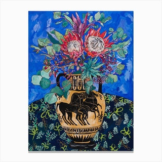 Protea Bouquet On Ultramarine Blue With Greek Horse Urn Canvas Print