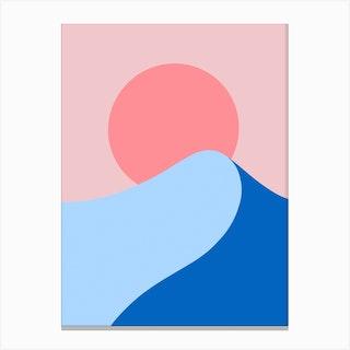 Waves At Sunset Canvas Print