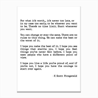 For What Its Worth Scott Fitzgerald Quote Canvas Print