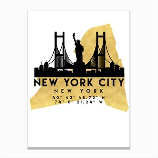 New York Silhouette City Skyline Map Canvas Print