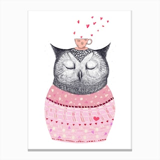 Owl With Coffee Canvas Print