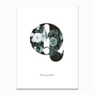 Flower Alphabet Q Canvas Print
