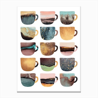 Pretty Earthy Coffee Cups Canvas Print