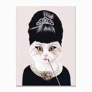 Audrey Hepburn Cat Canvas Print