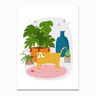 Cat Plants Canvas Print