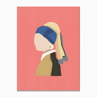 Girl With Pearl Earring Pink Canvas Print
