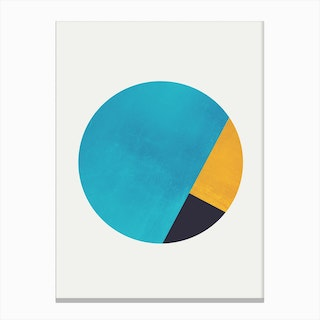 Turquoise and Gold Moon Canvas Print