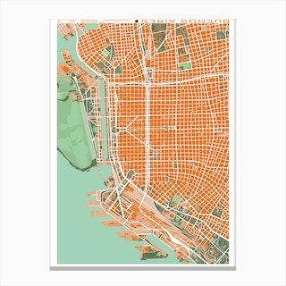 Buenos Aires Orange Map Canvas Print