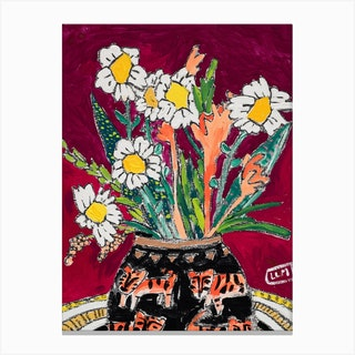 Daisy Bouquet On Wine Red With Tiger Vase Canvas Print