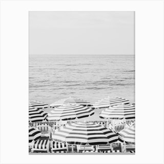 French Riviera Black And White Canvas Print