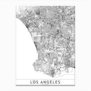 Los Angeles White Map  I Canvas Print