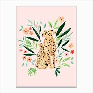 Cheetah 2 Pink Canvas Print