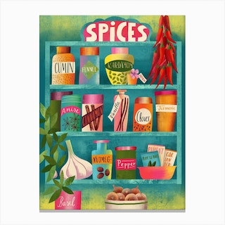 Spices Chart Canvas Print